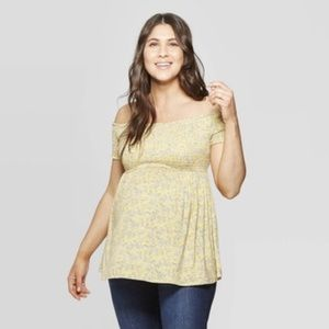 Yellow smocked floral maternity top